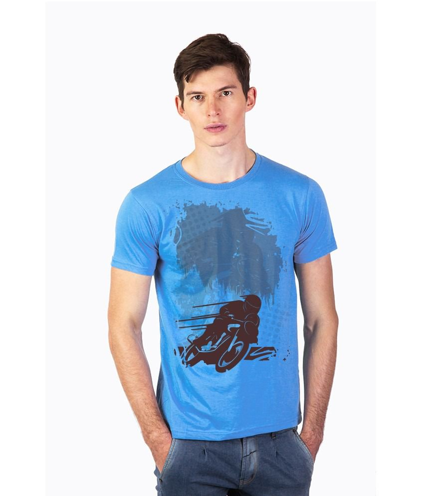 Effit Blue Cotton Round Neck T-Shirt