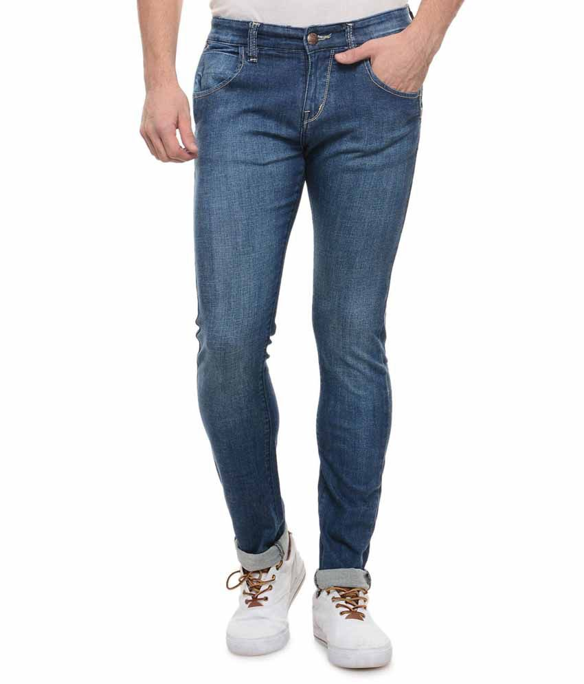 Flying Port Blue Stretchable Faded Jeans For Men