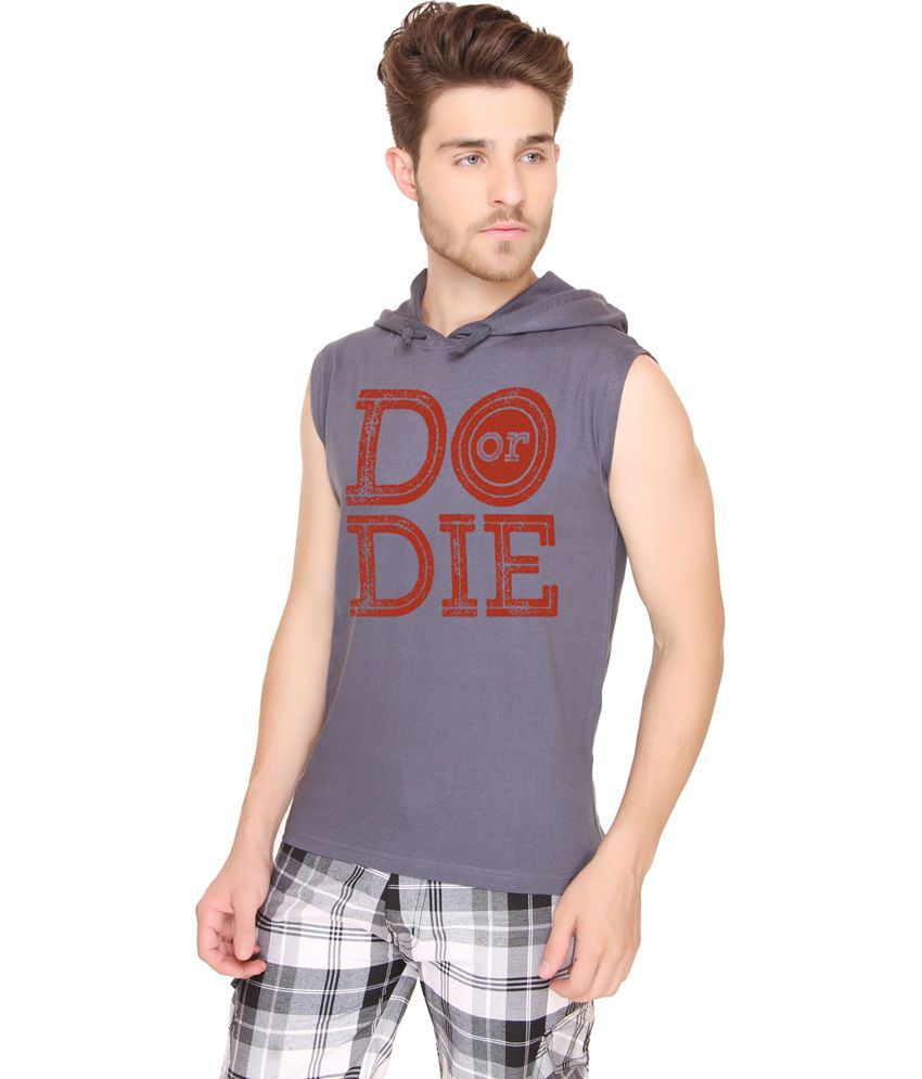 Sayitloud Cotton Do Or Die Dark Grey Sleeveless Hoodie