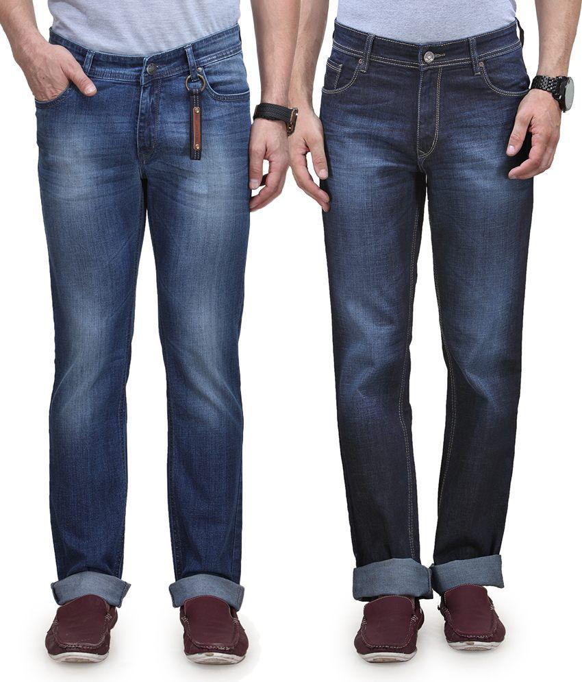 Vintage Blue Jeanswear Blue Cotton Regular Fit Jeans - Pack Of 2