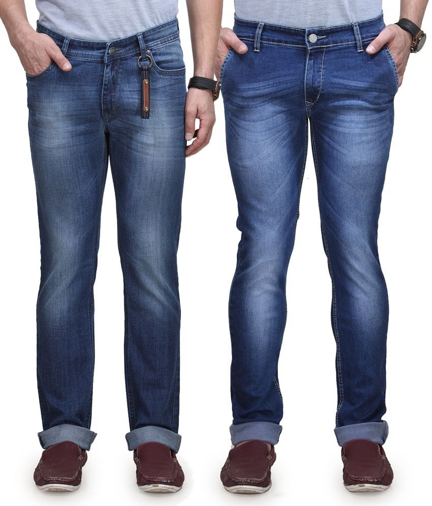 Vintage Blue Jeanswear Blue Cotton Straight Fit Jeans - Pack Of 2