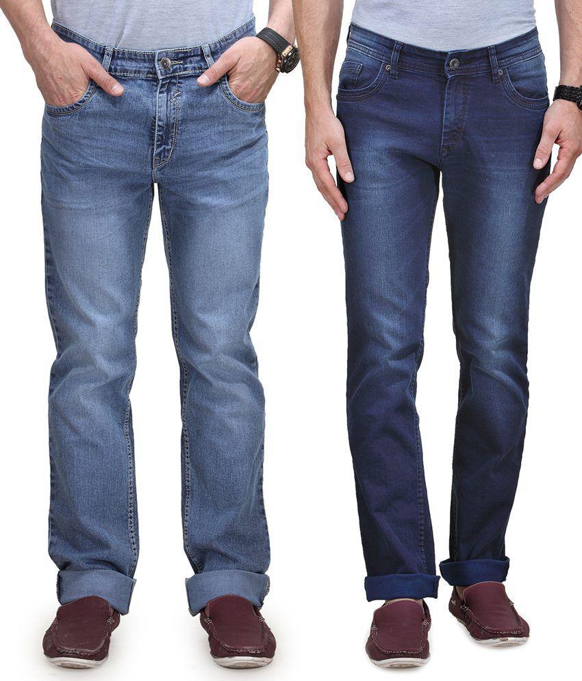 Vintage Blue Jeanswear Multi Cotton Regular Fit Jeans - Pack Of 2