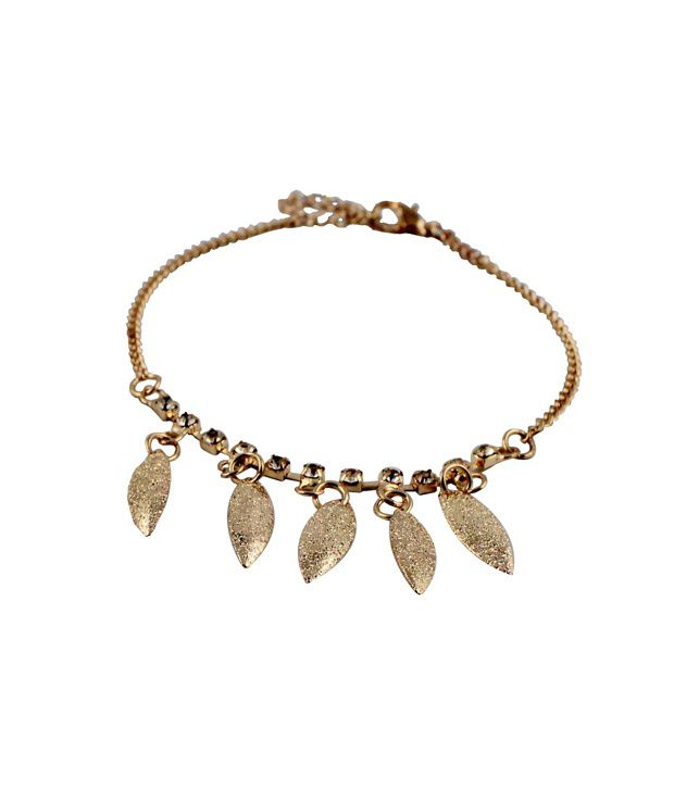 Wise Pebbles Golden Leaf and Stone Anklet for Women