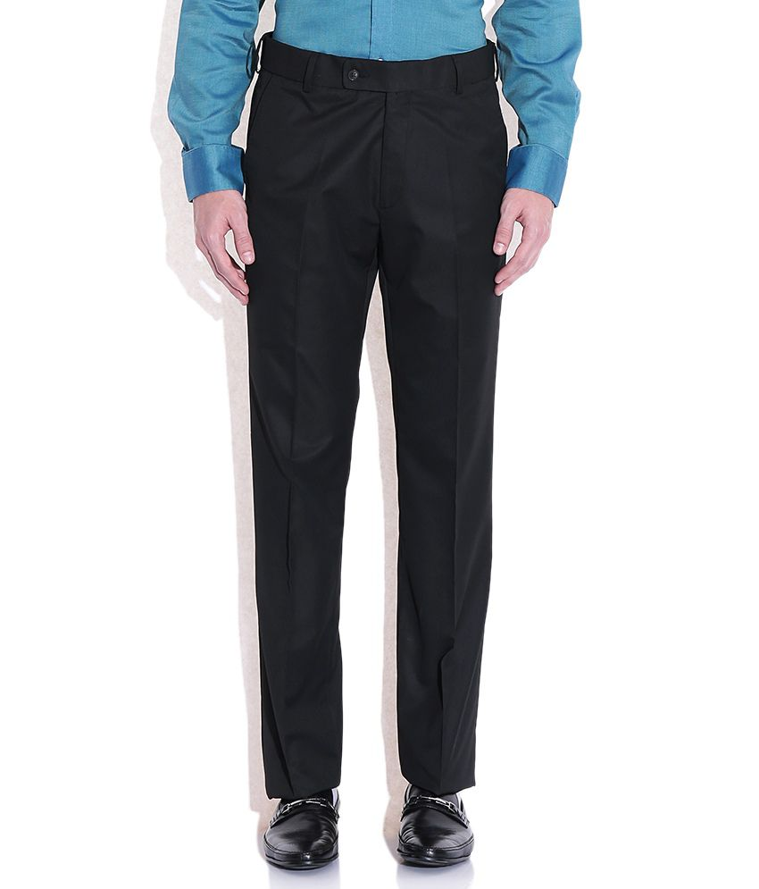Arrow Black Regular Fit Formal Trousers