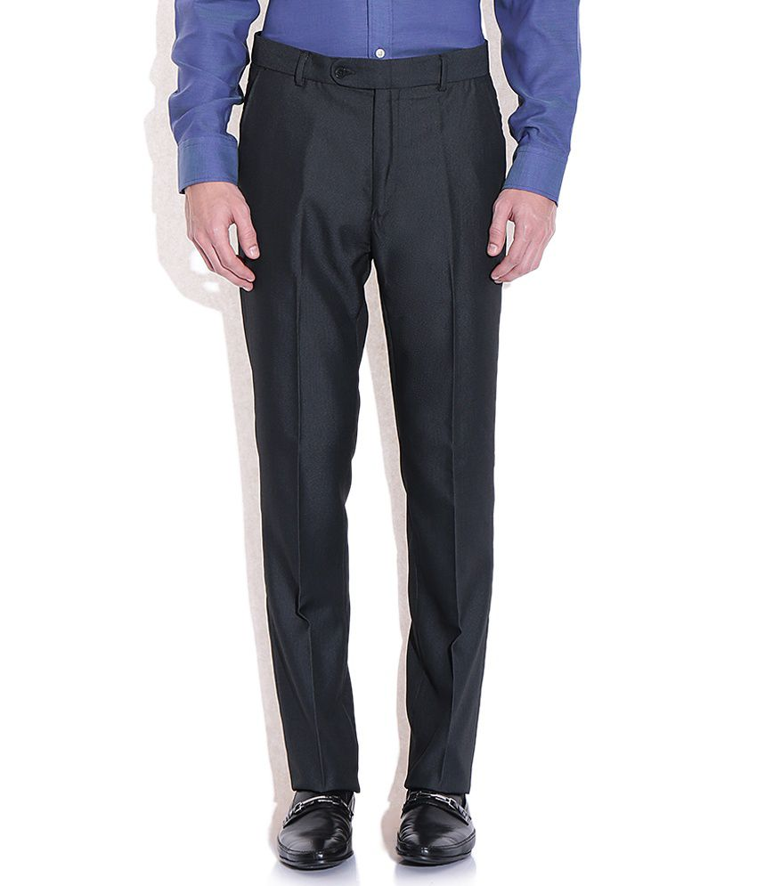 Arrow Navy Blue Solid Flat Front Trousers