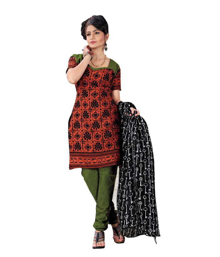 S.N.Prints Multi Color Cotton Unstitched Dress Material