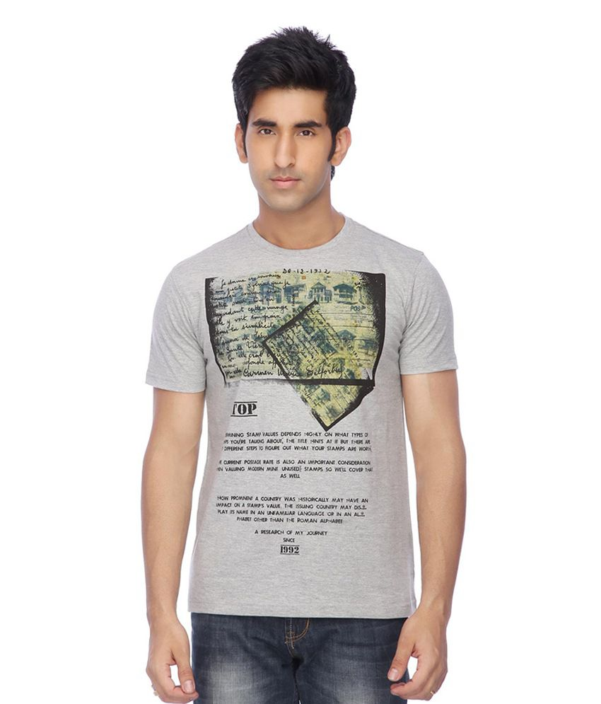 Stop by Shoppers Stop Gray Cotton Round Neck Printed T-Shirt