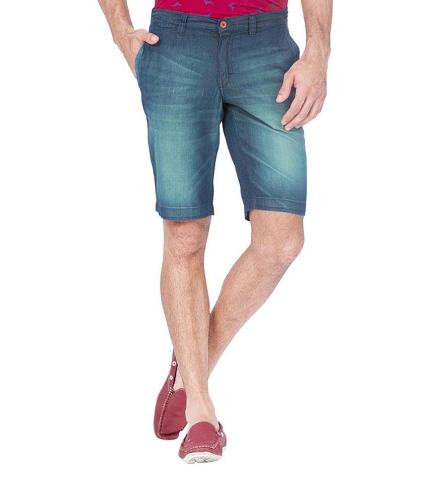 The Indian Garage Co. Cotton Blend Trendy Blue Denim Shorts