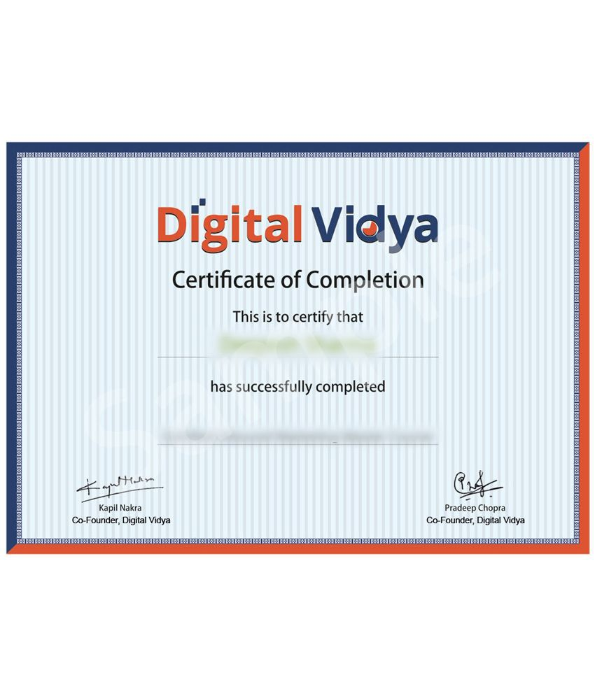 Digital Vidya Social Media Marketing Certification Self Study