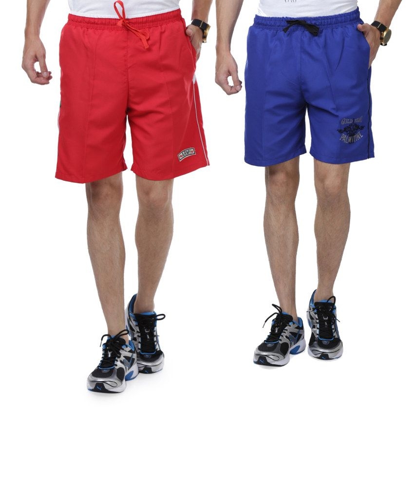 Nu9 Combo of Blue & Red Shorts