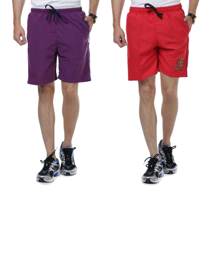 Nu9 Combo of Purple & Red Shorts