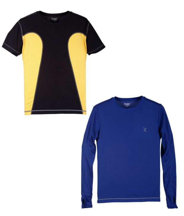Zobello Black And Blue Polyester T-shirts (Combo Of 2)