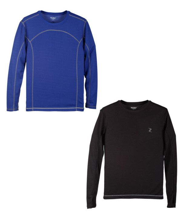 Zobello Blue And Black Polyester T-shirts (Combo Of 2)