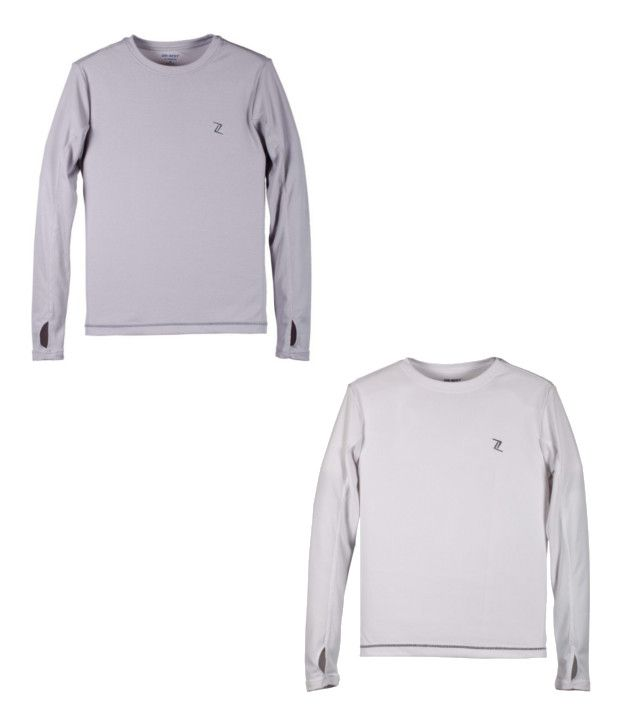Zobello Gray And White Polyester T-shirts (Combo Of 2)