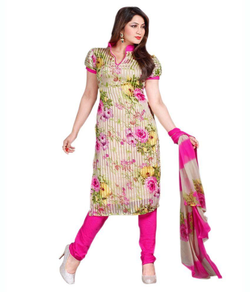Chandra Mouli Fashion Multi Color Faux Georgette Unstitched Dress Material