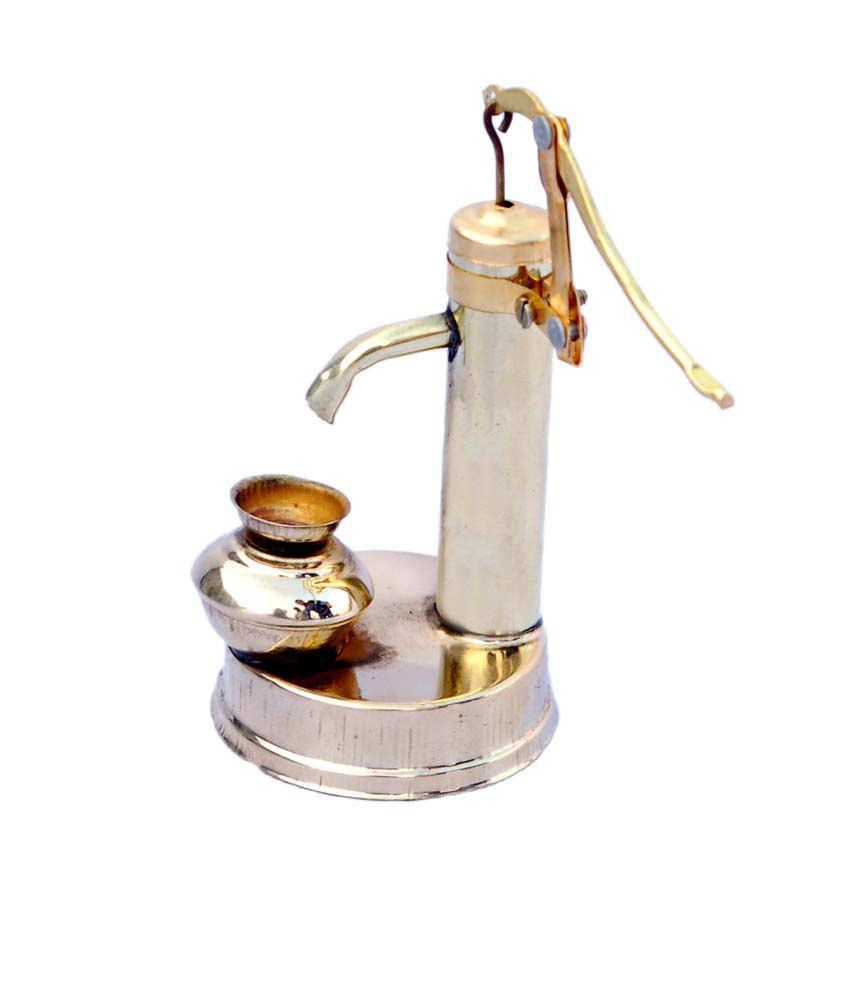 Folkshopz Brass Mini Handpump Table Decorative Showpiece