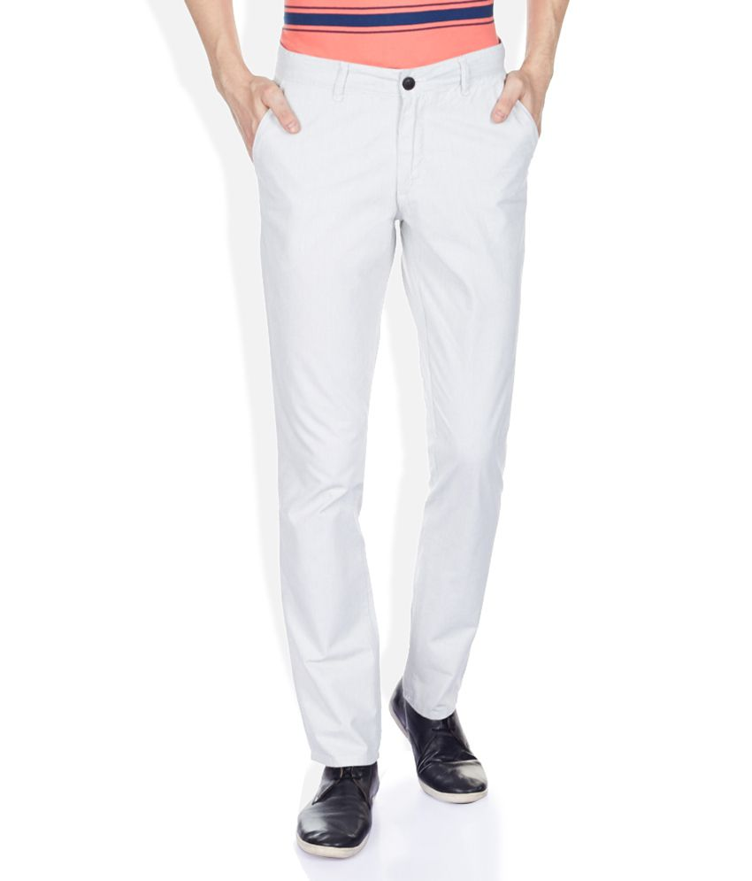 John Players White Slim Fit Trousers