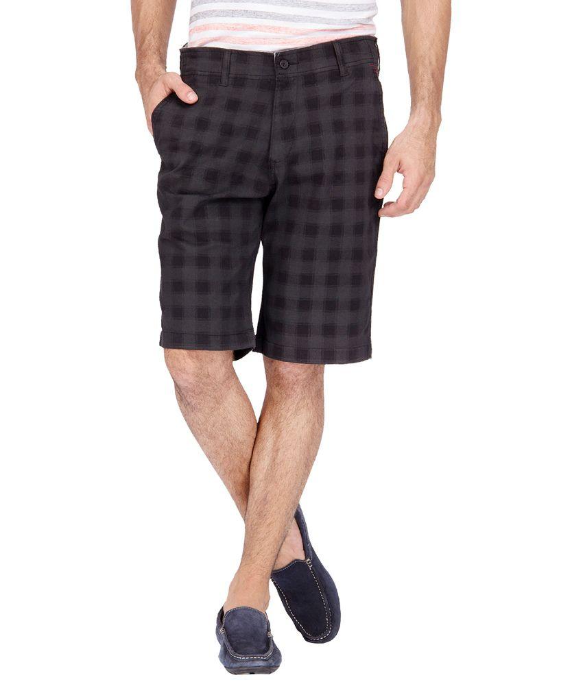 urbantouch Black Checks Cotton Shorts