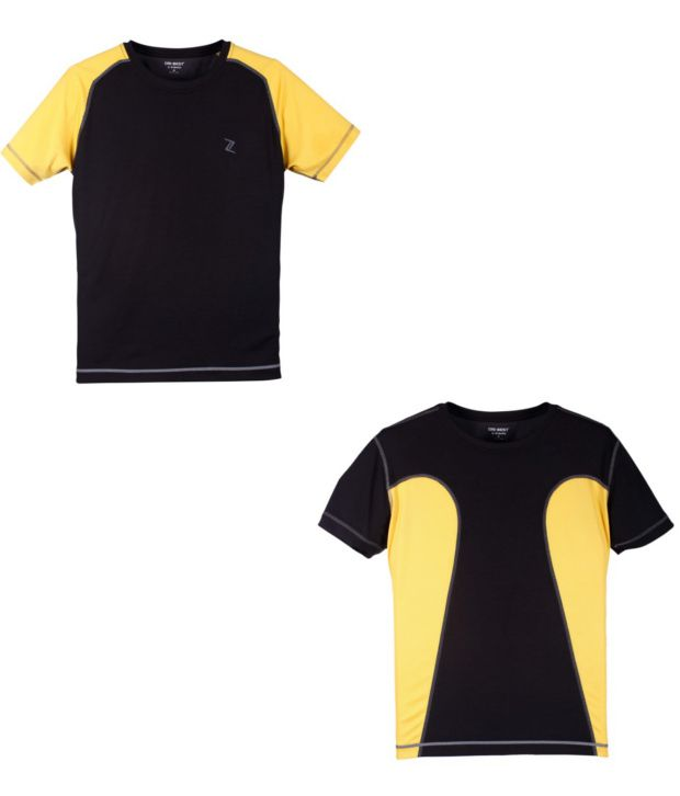 Zobello Black Polyester T-shirts (Combo Of 2)