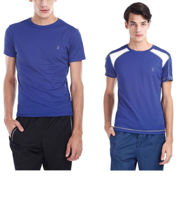 Zobello Blue Polyester T-shirts (Combo Of 2)