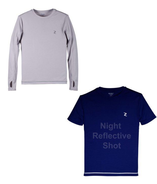Zobello Gray And Blue Polyester T-shirts (Combo Of 2)