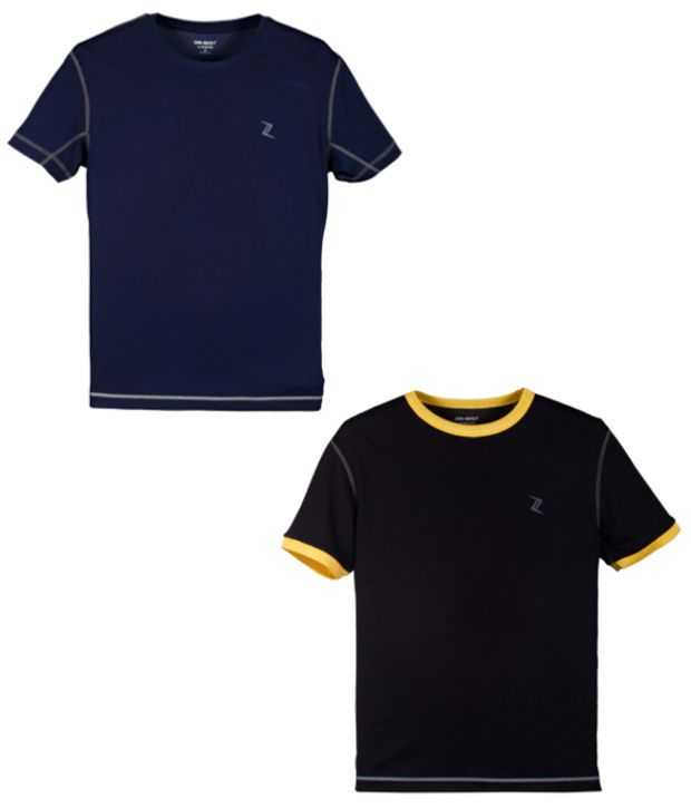 Zobello Navy And Black Polyester T-shirts (Combo Of 2)