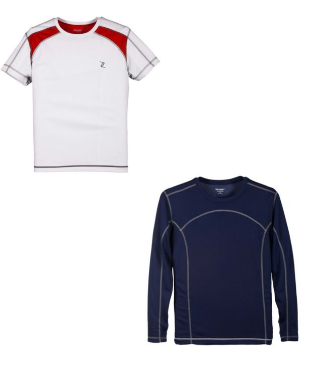 Zobello White And Navy Polyester T-shirts (Combo Of 2)