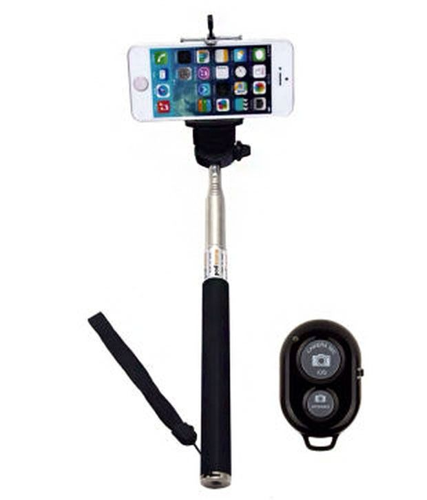 Generic Selfie All India Handicraft Selfie Stick for Android and iOS Phones With Bluetooth Remote Black