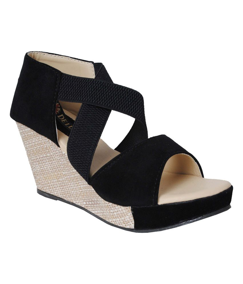a5b933565 Frontier Black Platforms Heeled Sandals Price in India- Buy Frontier Black  Platforms Heeled Sandals Online at Snapdeal