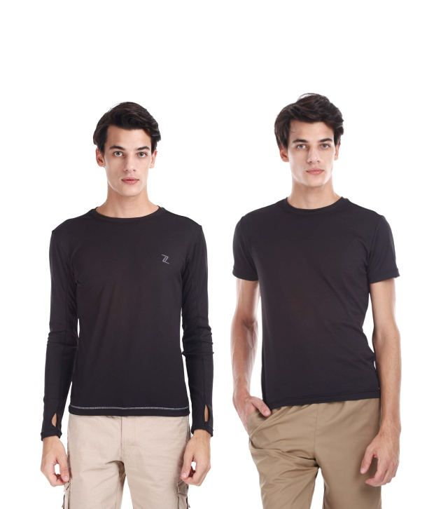 Zobello Black Polyester T-shirts (Combo Of 2)
