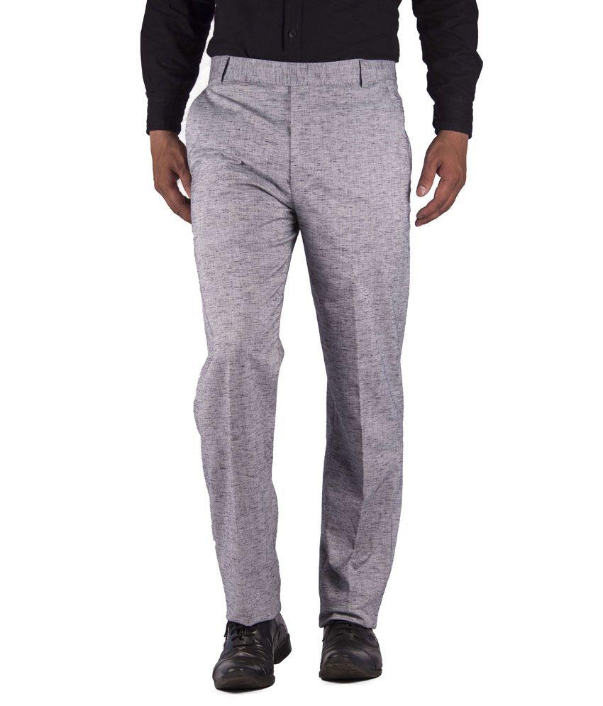 American-Elm Gray Cotton Blend Slim Fit Formal Trouser