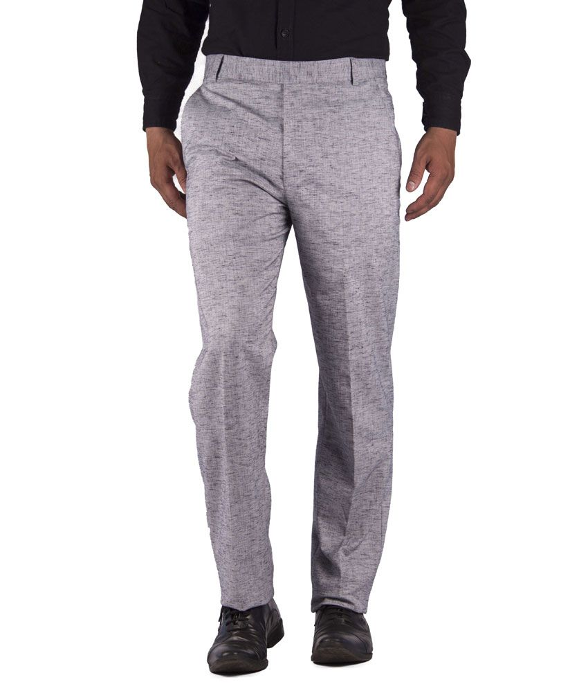 American-Elm Gray Cotton Blend Slim Fit Formal Trouser