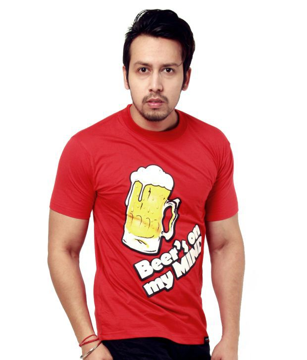 CRYPTICvoodoo Men's Witty Red Round-Neck Beer T-Shirt
