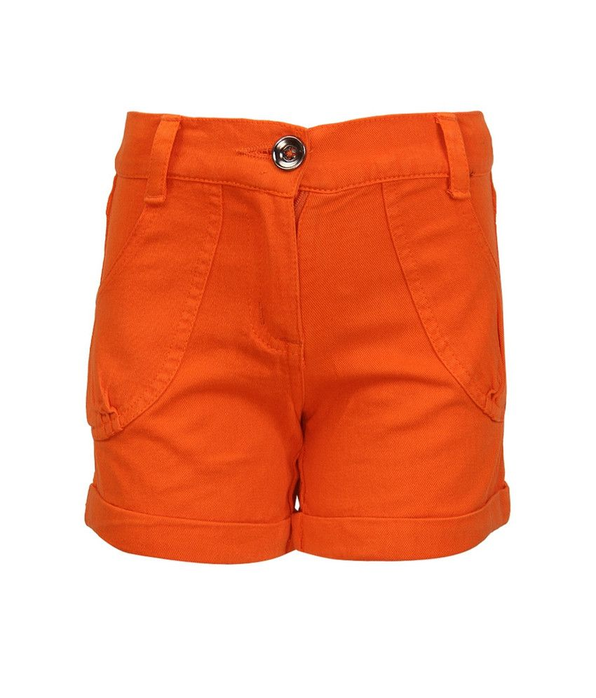 Cool Quotient Orange  Twill Shorts For Kids