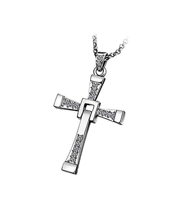 Vin Diesel Cross Necklace: Fashion Pendant Silver Vin Diesel Classic Male Rhinestone