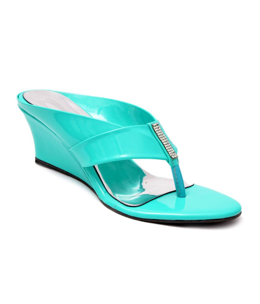 66ac2c2b1e6 Lee Walk Turquoise Low Heel Heeled Slip-on Price in India- Buy Lee Walk Turquoise  Low Heel Heeled Slip-on Online at Snapdeal