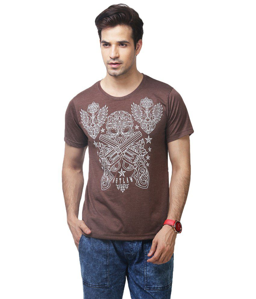 Yepme Brown Outlaw Round Neck Printed T-shirt for Men