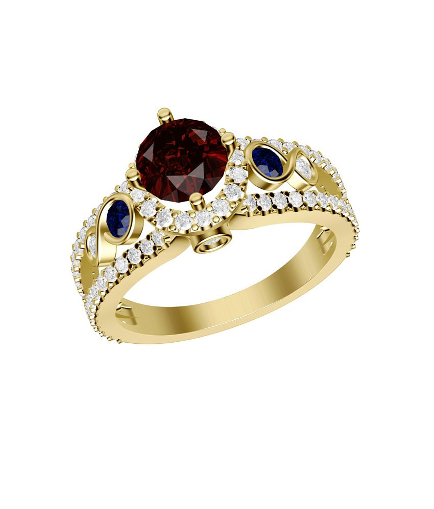 Shish Jewels Red Ruby And Blue Sapphire Round Stud Yellow Rhodium Plated 925 Sterling Silver Ring