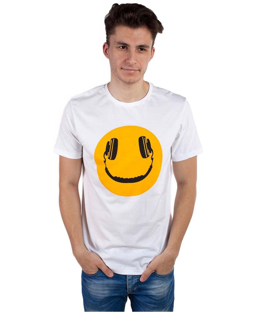 Tomo White Cotton Printed Round Neck T-Shirt