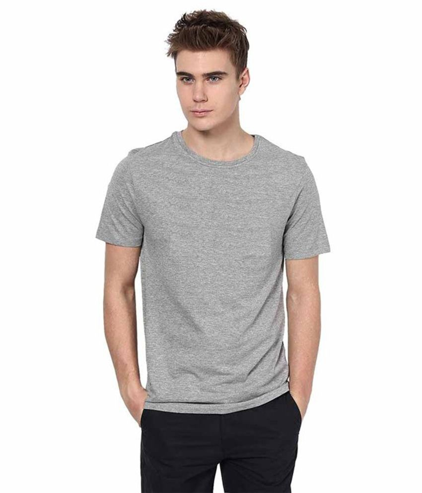 Black t shirt low price -  Xarans Grey Black Cotton Half Sleeves Round Neck T Shirt Pack Of