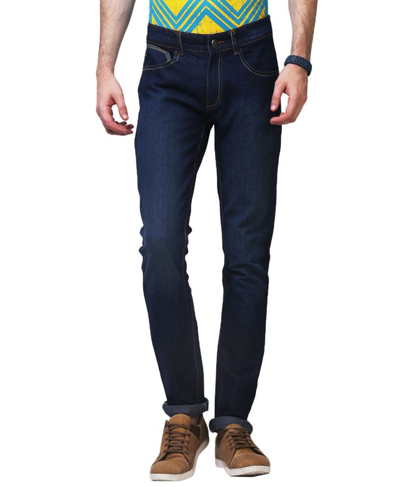 Yepme Cotzer Navy Solid Slim Fit Denims for Men