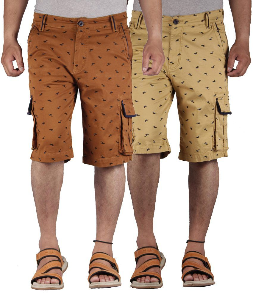 FBM Brown & Beige Printed Stretchable Shorts Combo Of 2