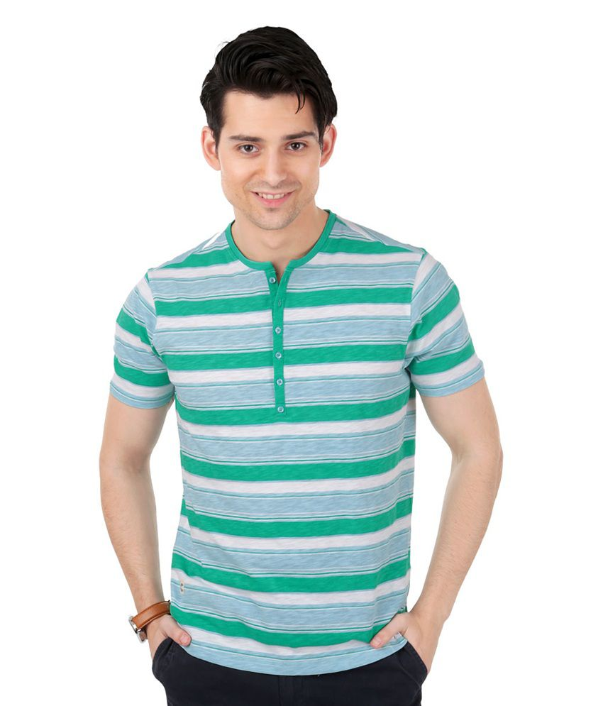 Freecultr Baron Green & Blue Half Sleeves Cotton Henley T-Shirt