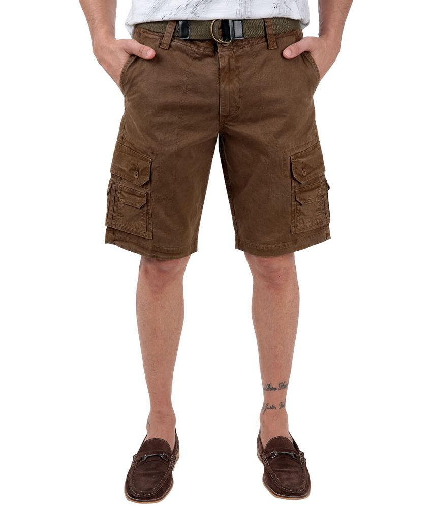 Freecultr Beppe Brown Cotton Mens Casual Shorts