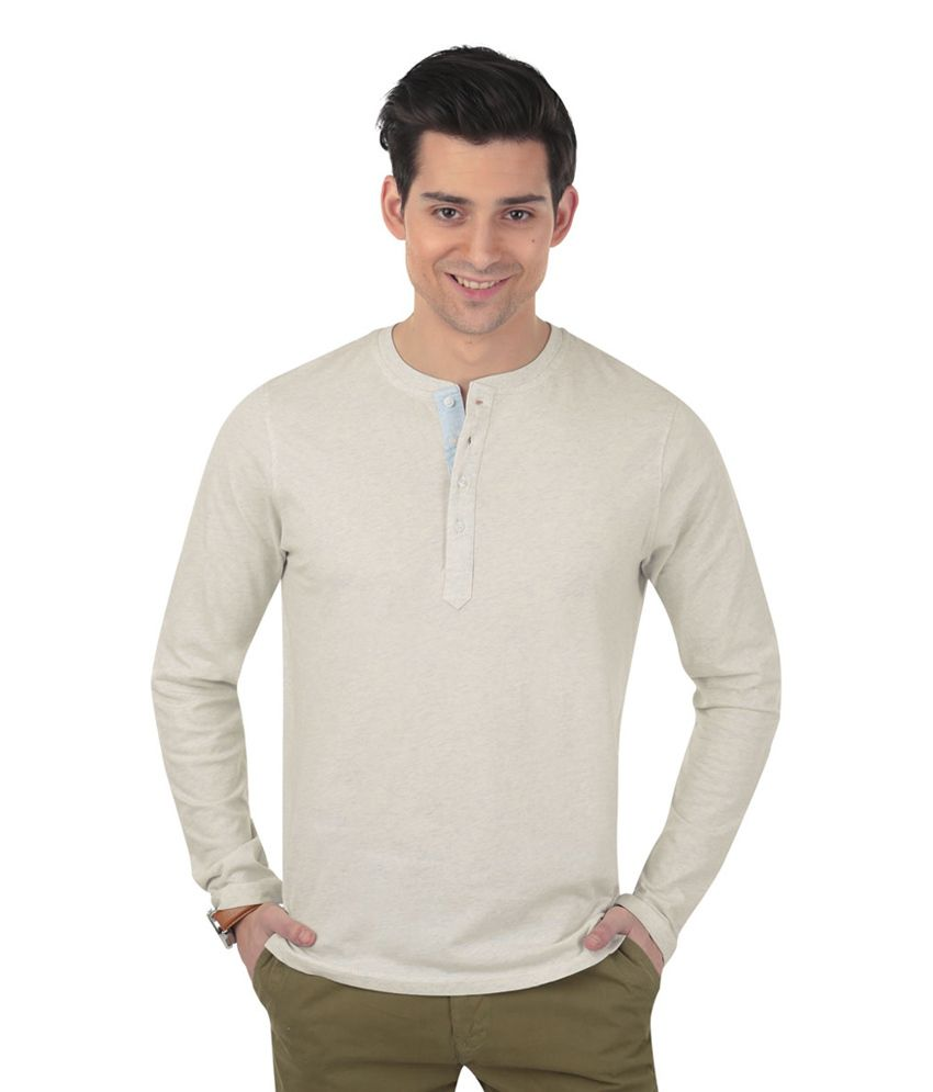 Freecultr Rayce Grey Full Sleeves Cotton Henley T-Shirt