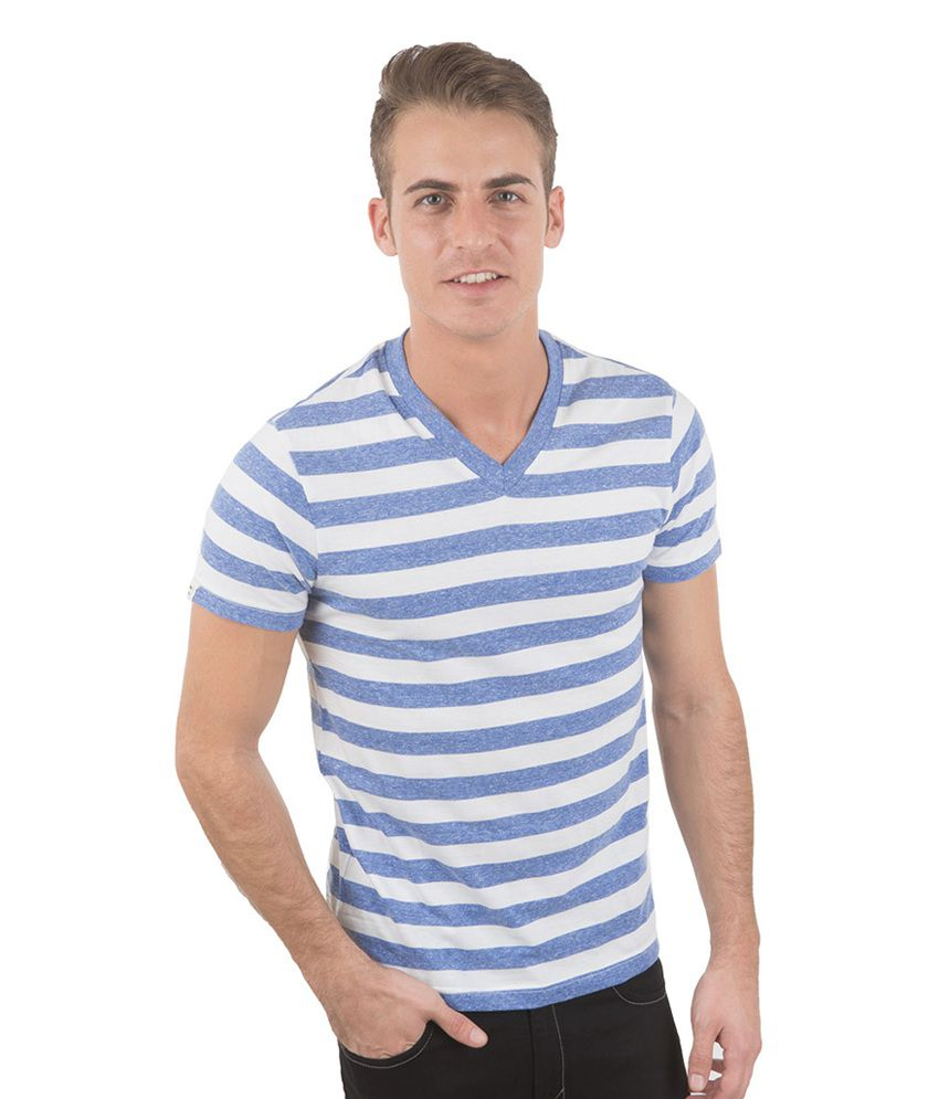 Freecultr Sal Blue & White Half Sleeves Cotton V-Neck T-Shirt