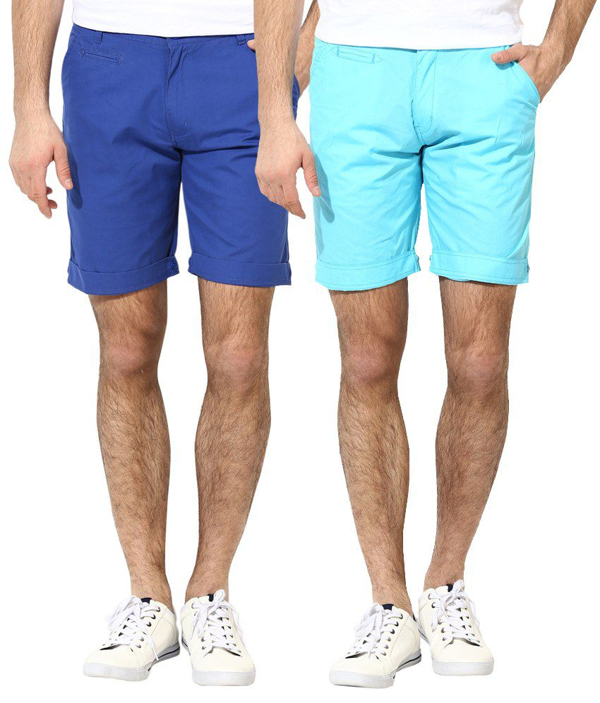 Silver Streak Blue Cotton Shorts (Pack of 2)