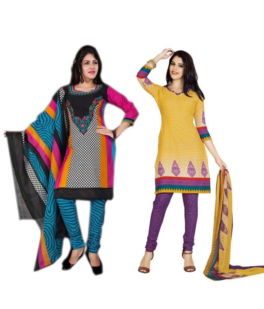 Tresor Silks Pack Of 2 Yellow And Pink Printed Dress Material