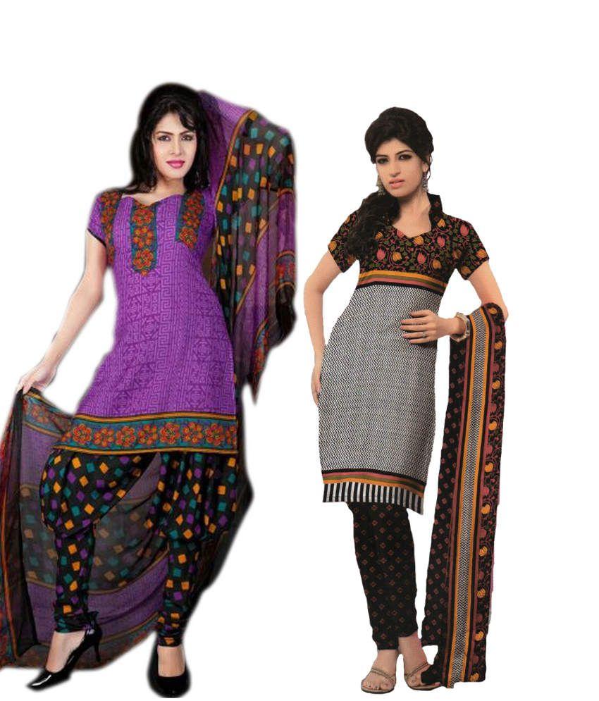 Tresor Silks Pack Of 2 Black And Purple Printed Dress Material
