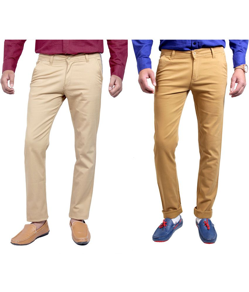 Routeen Cotton Lycra Slim Fit Casual Chinos Trouser - Beige, Khakhi (pack of 2)